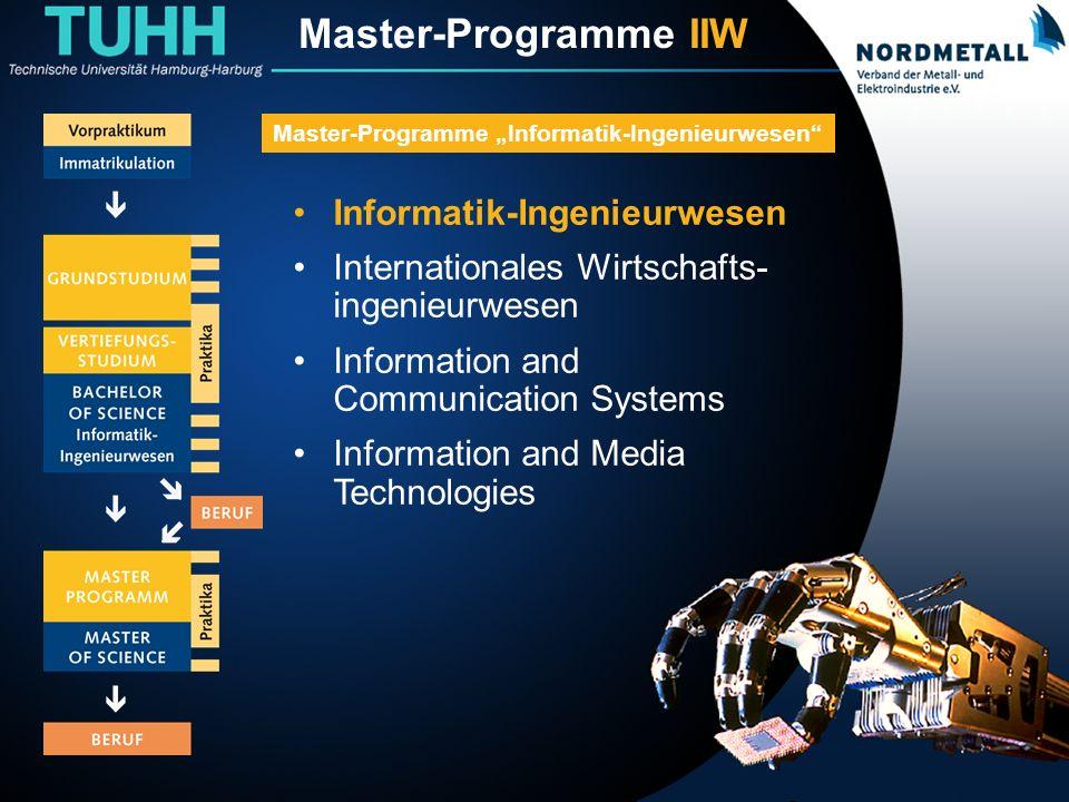 Master: Informatik-Ingenieurwesen (2) Informatik-Ingenieurwesen Internationales Wirtschafts- ingenieurwesen Information and Communication Systems Information and Media Technologies Master-Programme Informatik-Ingenieurwesen Master-Programme IIW
