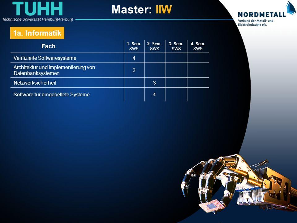 Master: Informatik-Ingenieurwesen (5) Fach 1.Sem.
