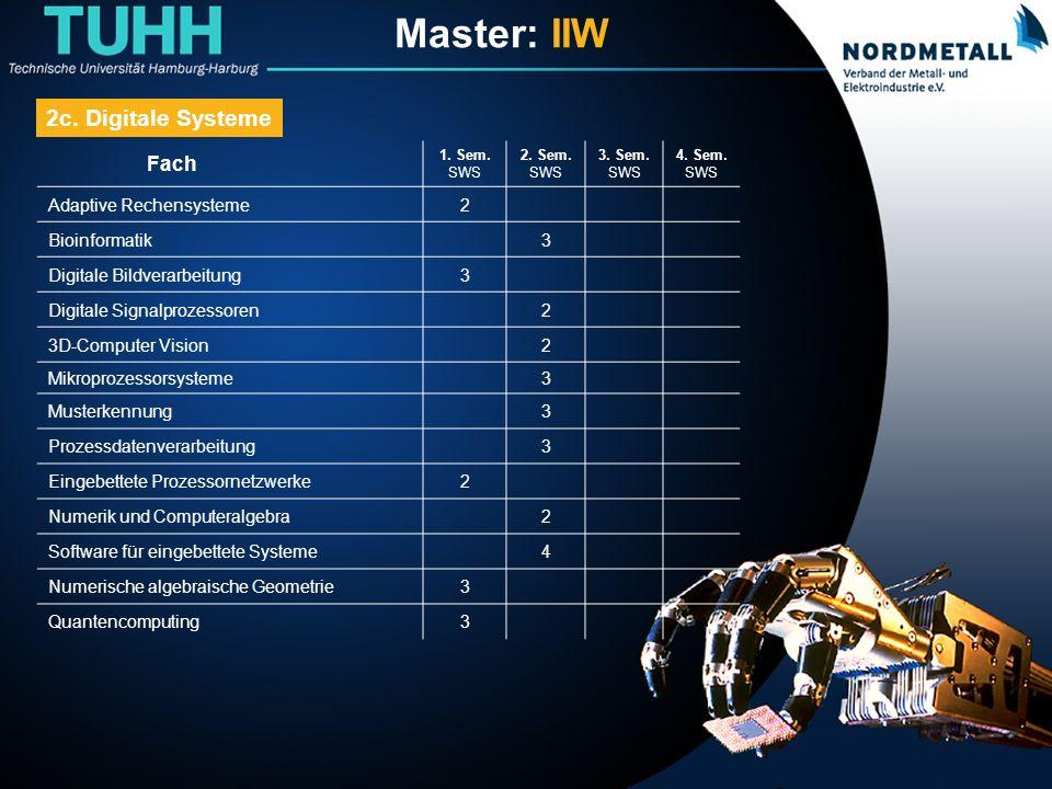 Master: Informatik-Ingenieurwesen (15) Fach 1.Sem.
