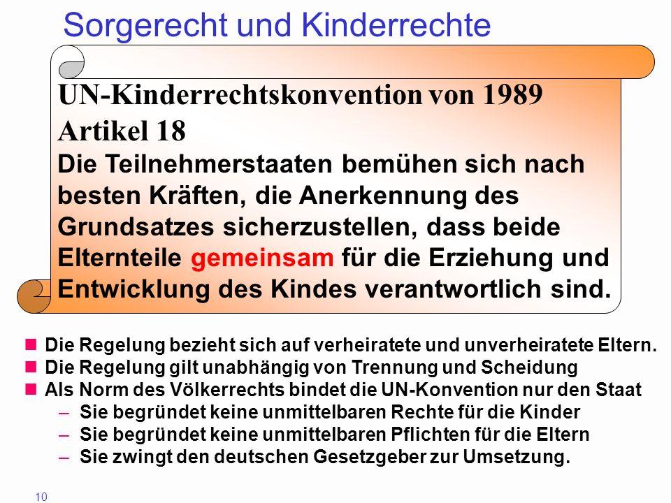 10 Sorgerecht und Kinderrechte UN-Kinderrechtskonvention von 1989 Artikel 18 Die Teilnehmerstaaten bemühen sich nach besten Kräften, die Anerkennung d