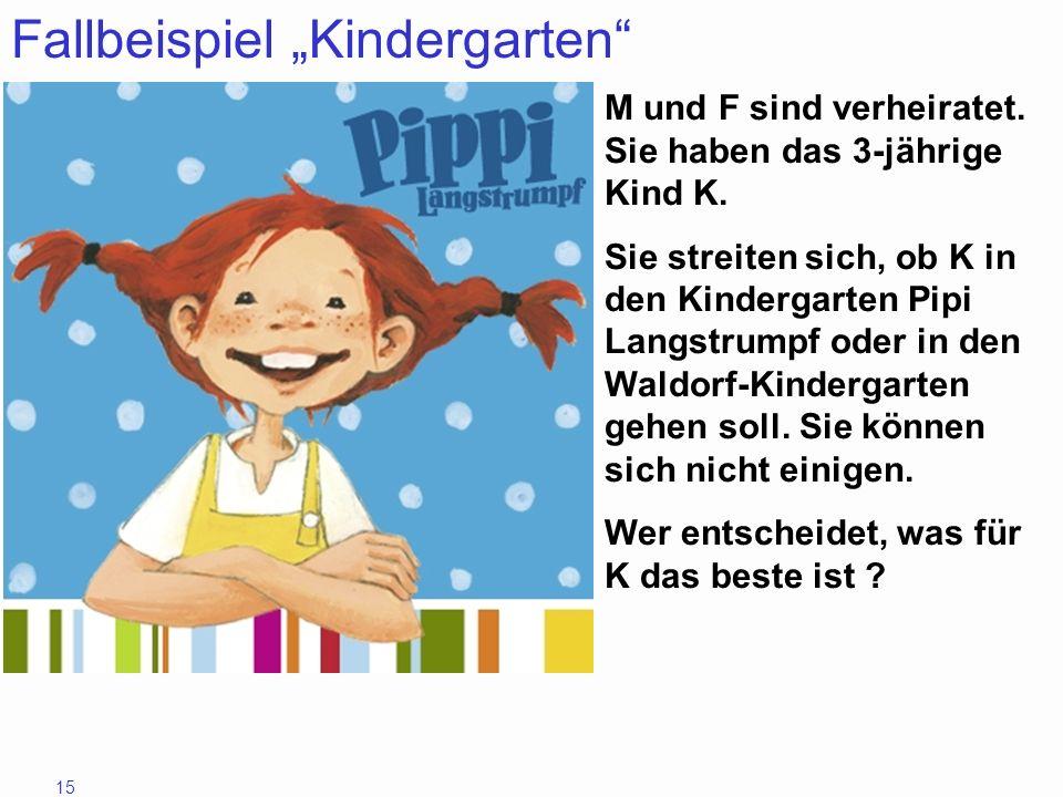 15 Fallbeispiel Kindergarten M und F sind verheiratet. Sie haben das 3-jährige Kind K. Sie streiten sich, ob K in den Kindergarten Pipi Langstrumpf od