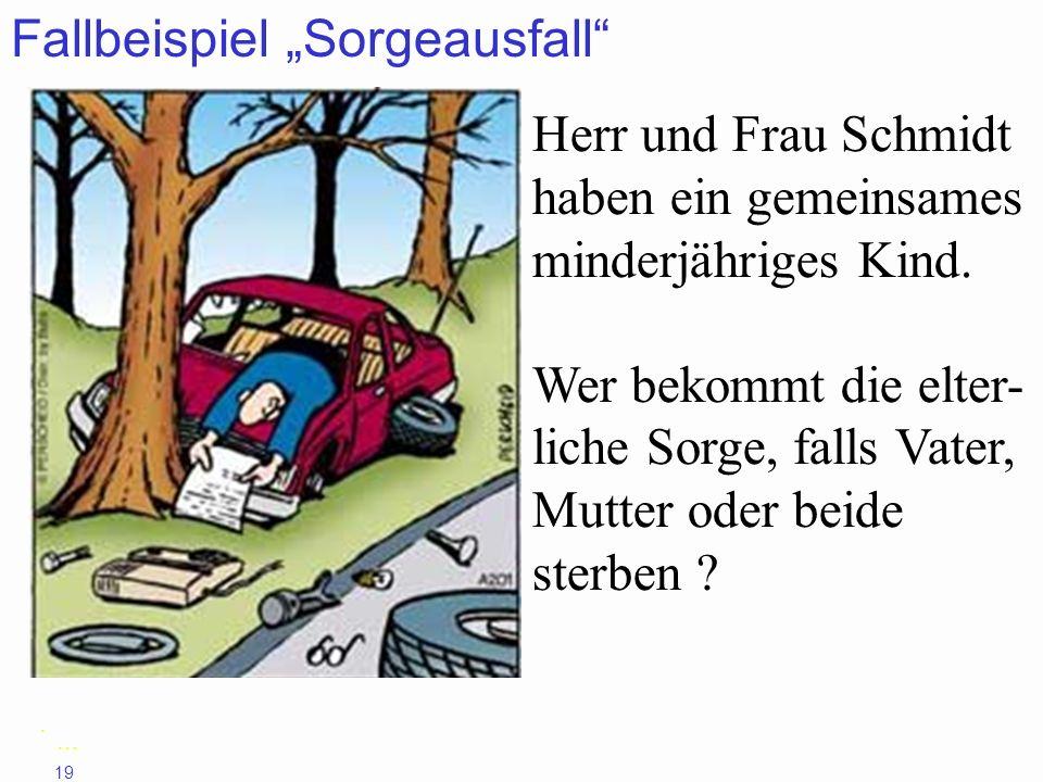 19 Fallbeispiel Sorgeausfall Herr und Frau Schmidt haben ein gemeinsames minderjähriges Kind. Wer bekommt die elter- liche Sorge, falls Vater, Mutter