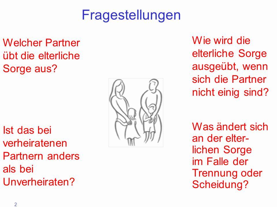 2 Fragestellungen Wie wird die elterliche Sorge ausgeübt, wenn sich die Partner nicht einig sind? Welcher Partner übt die elterliche Sorge aus? Ist da
