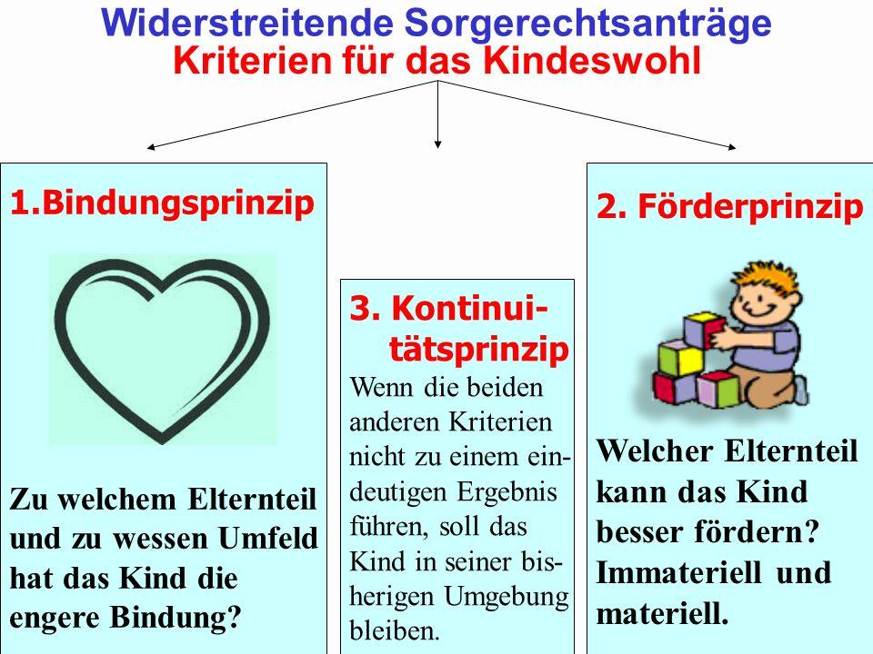 1.Bindungsprinzip Zu welchem Elternteil und zu wessen Umfeld hat das Kind die engere Bindung? 3. Kontinui- tätsprinzip Wenn die beiden anderen Kriteri