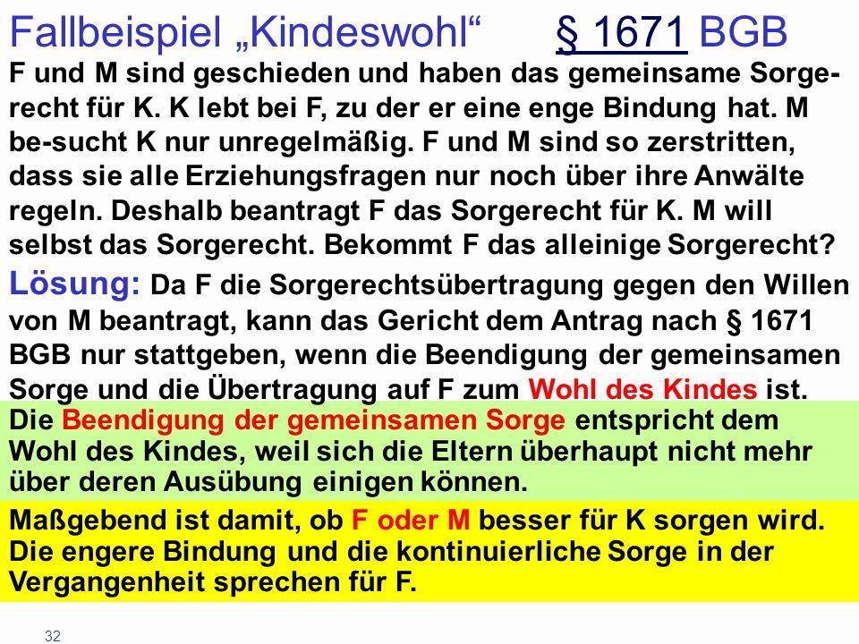 32 Fallbeispiel Kindeswohl § 1671 BGB§ 1671 F und M sind geschieden und haben das gemeinsame Sorge- recht für K. K lebt bei F, zu der er eine enge Bin