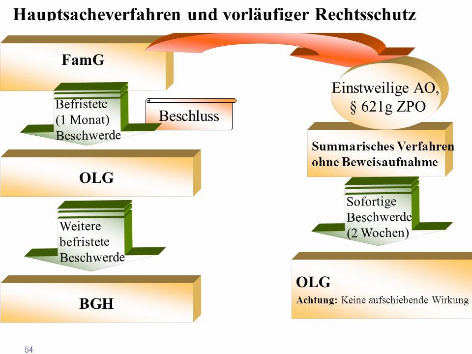 54 FamG Beschluss Summarisches Verfahren ohne Beweisaufnahme Einstweilige AO, § 621g ZPO Befristete(1 Monat)Beschwerde OLG WeiterebefristeteBeschwerde
