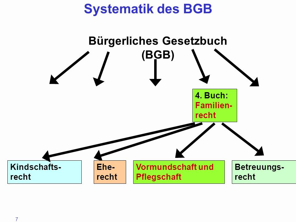 7 4. Buch: Familien- recht Kindschafts- recht Ehe- recht Vormundschaft und Pflegschaft Betreuungs- recht Bürgerliches Gesetzbuch (BGB) Systematik des