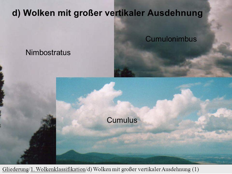 GliederungGliederung/1. Wolkenklassifikation/c) Tiefe Wolken (2)1. Wolkenklassifikation Bild: Stratus fractus opacus (St fra op) Tiefe Wolken – einige