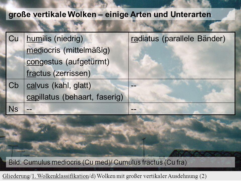 d) Wolken mit großer vertikaler Ausdehnung GliederungGliederung/1. Wolkenklassifikation/d) Wolken mit großer vertikaler Ausdehnung (1)1. Wolkenklassif