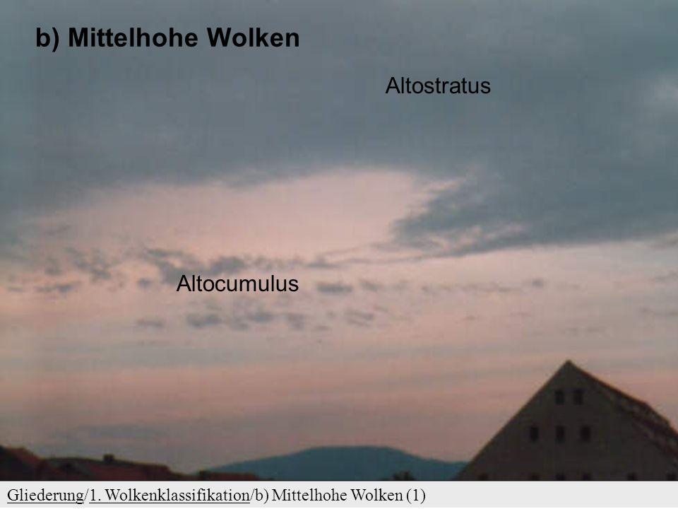 GliederungGliederung/1. Wolkenklassifikation/a) Hohe Wolken (2)1. Wolkenklassifikation Hohe Wolken – einige Arten und Unterarten Cifibratus (faserig)
