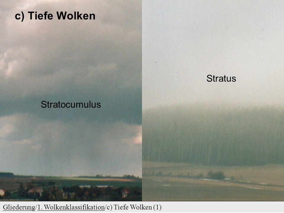 c) Tiefe Wolken GliederungGliederung/1.Wolkenklassifikation/c) Tiefe Wolken (1)1.