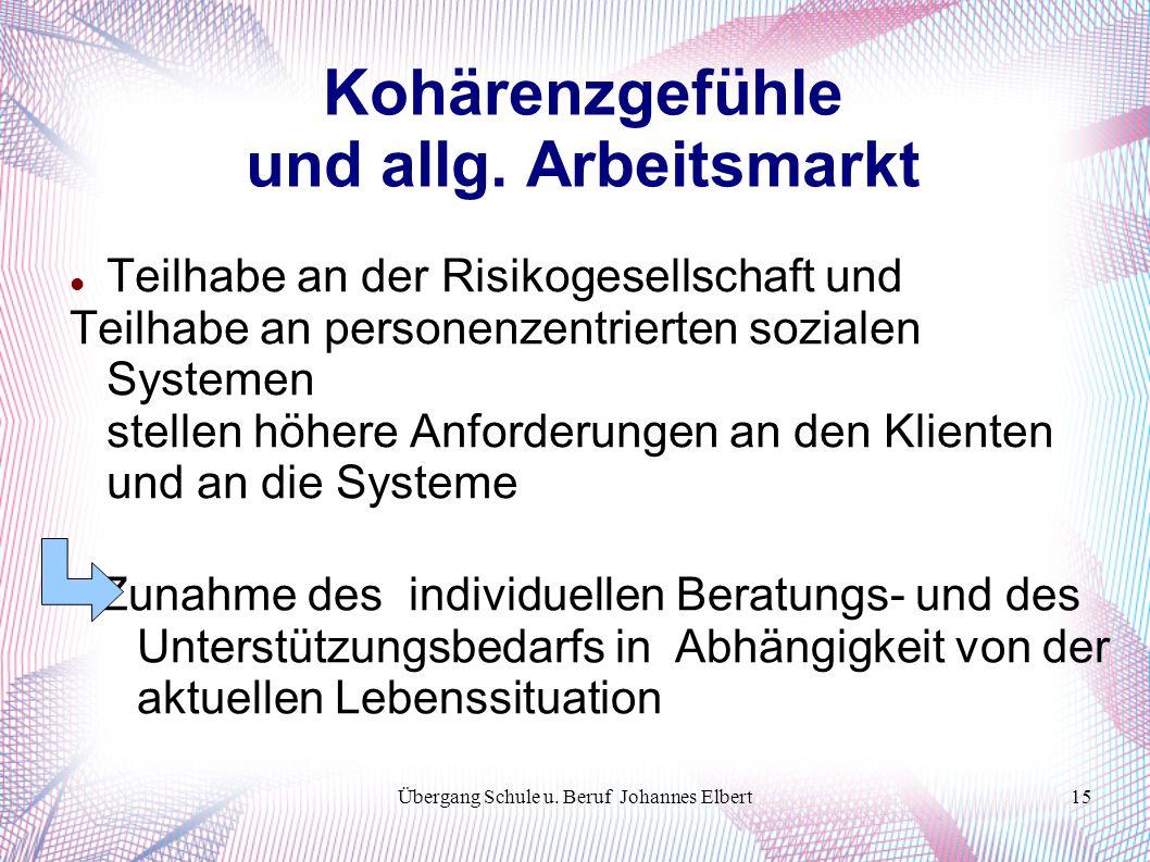 Übergang Schule u. Beruf Johannes Elbert15 Kohärenzgefühle und allg.