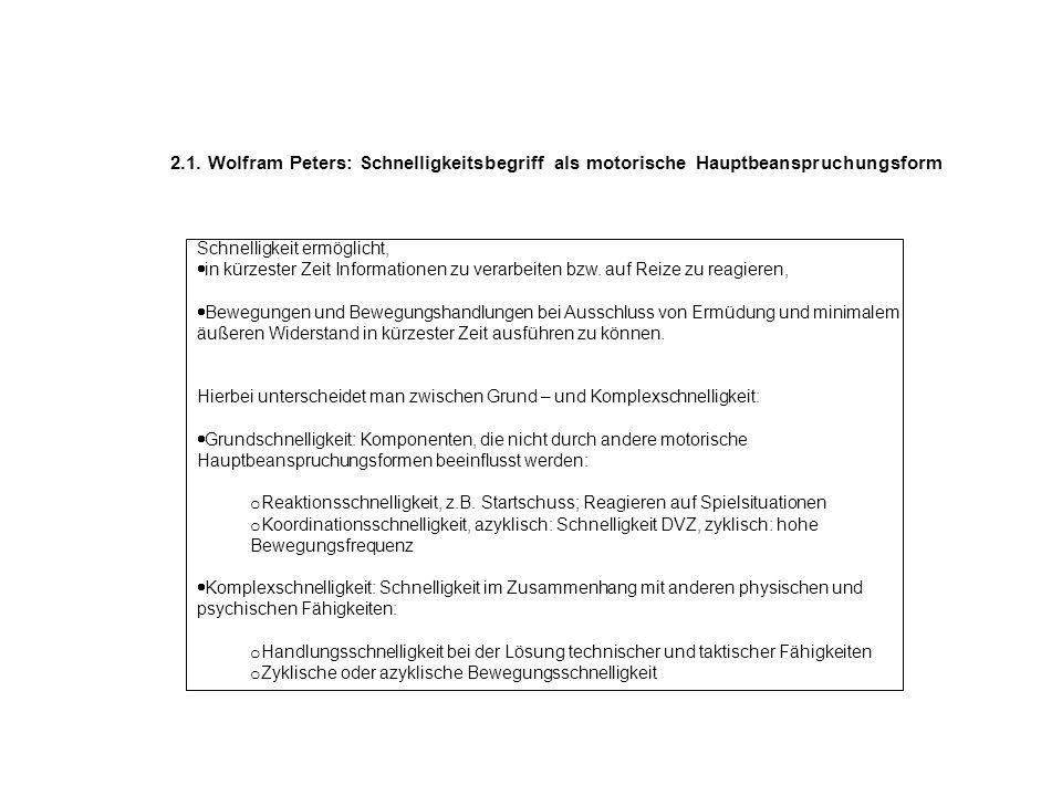2.1. Wolfram Peters: Schnelligkeitsbegriff als motorische Hauptbeanspruchungsform Schnelligkeit ermöglicht, in kürzester Zeit Informationen zu verarbe