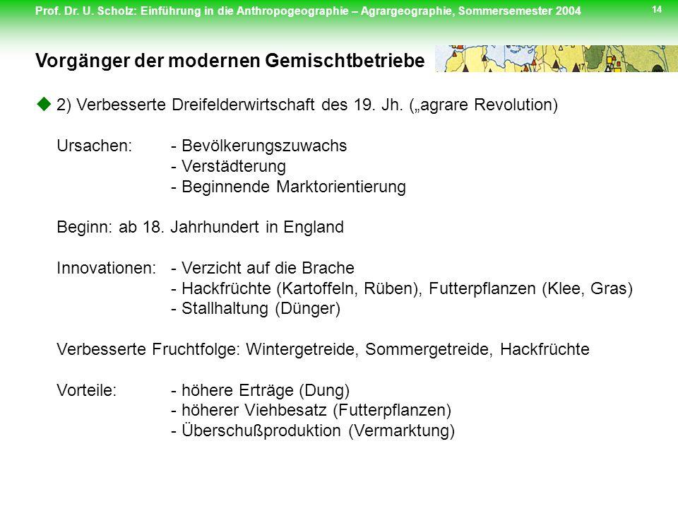 Prof. Dr. U. Scholz: Einführung in die Anthropogeographie – Agrargeographie, Sommersemester 2004 14 2) Verbesserte Dreifelderwirtschaft des 19. Jh. (a