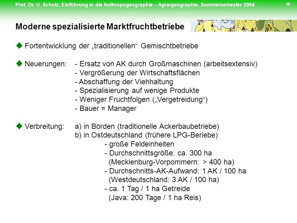 Prof. Dr. U. Scholz: Einführung in die Anthropogeographie – Agrargeographie, Sommersemester 2004 18 Fortentwicklung der traditionellen Gemischtbetrieb