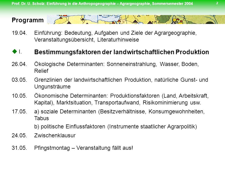 Prof. Dr. U. Scholz: Einführung in die Anthropogeographie – Agrargeographie, Sommersemester 2004 2 Programm 19.04.Einführung: Bedeutung, Aufgaben und