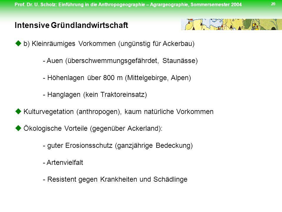 Prof. Dr. U. Scholz: Einführung in die Anthropogeographie – Agrargeographie, Sommersemester 2004 20 b) Kleinräumiges Vorkommen (ungünstig für Ackerbau