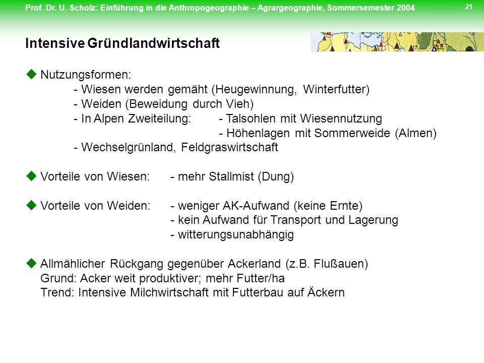 Prof. Dr. U. Scholz: Einführung in die Anthropogeographie – Agrargeographie, Sommersemester 2004 21 Nutzungsformen: - Wiesen werden gemäht (Heugewinnu