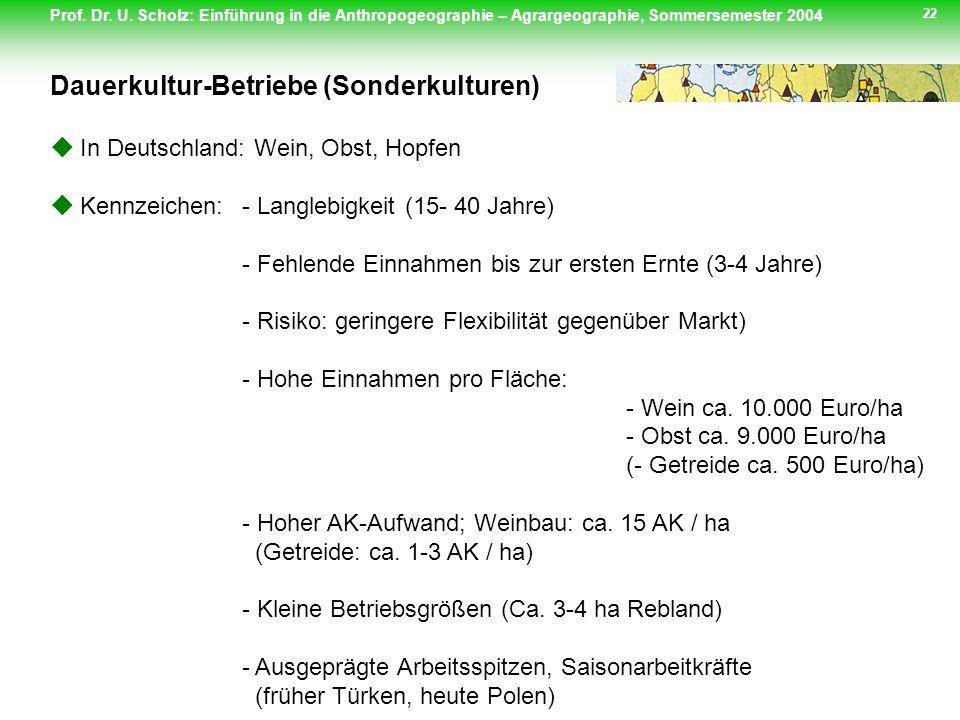 Prof. Dr. U. Scholz: Einführung in die Anthropogeographie – Agrargeographie, Sommersemester 2004 22 In Deutschland: Wein, Obst, Hopfen Kennzeichen:- L
