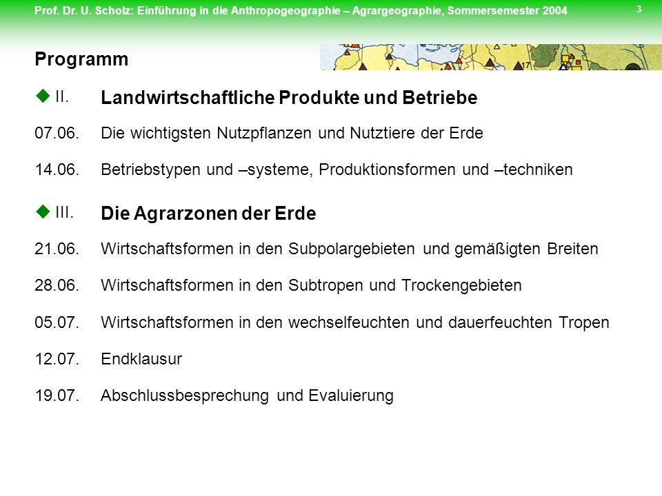 Prof. Dr. U. Scholz: Einführung in die Anthropogeographie – Agrargeographie, Sommersemester 2004 3 Programm II. Landwirtschaftliche Produkte und Betri