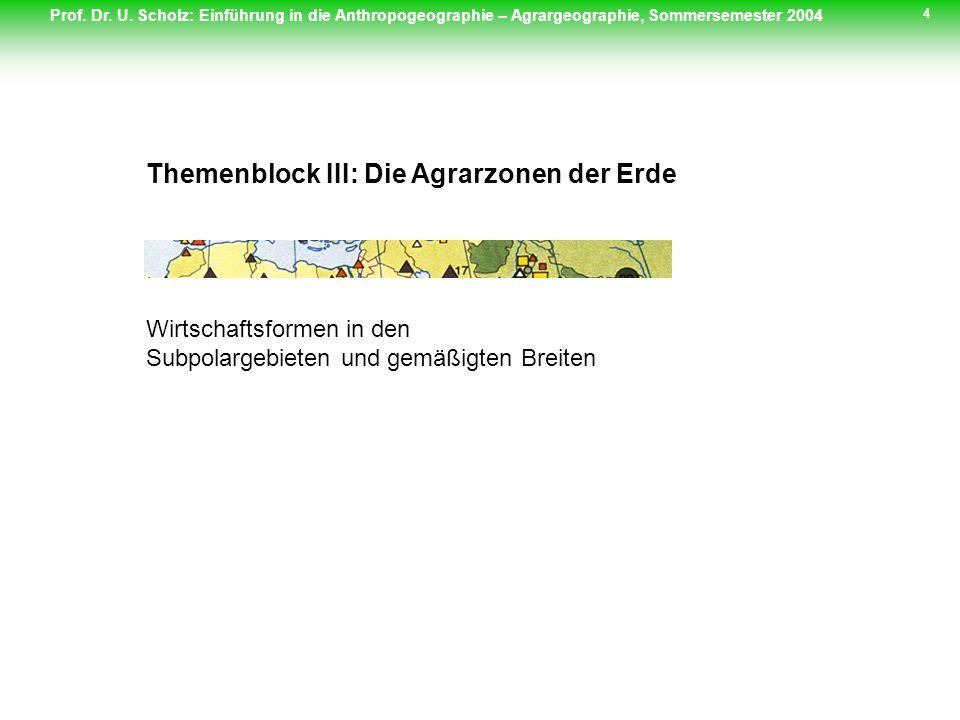 Prof. Dr. U. Scholz: Einführung in die Anthropogeographie – Agrargeographie, Sommersemester 2004 4 Themenblock III: Die Agrarzonen der Erde Wirtschaft