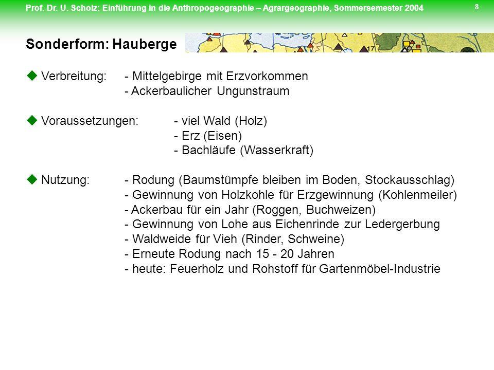 Prof. Dr. U. Scholz: Einführung in die Anthropogeographie – Agrargeographie, Sommersemester 2004 8 Verbreitung: - Mittelgebirge mit Erzvorkommen - Ack