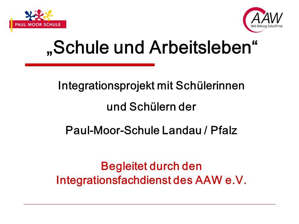 Schule und Arbeitsleben Integrationsprojekt mit Schülerinnen und Schülern der Paul-Moor-Schule Landau / Pfalz Begleitet durch den Integrationsfachdien