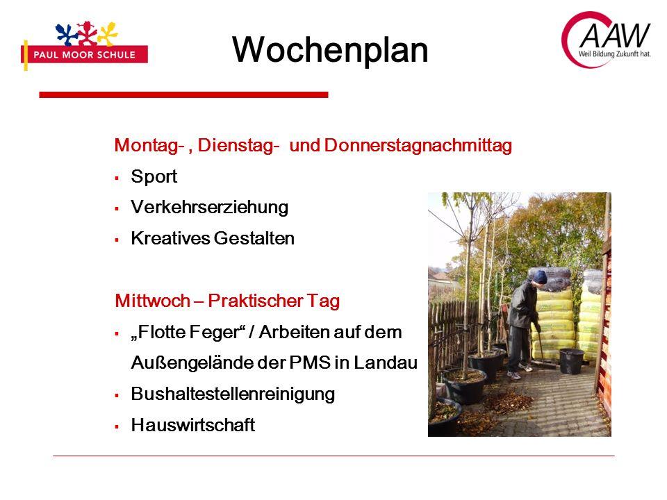Wochenplan Montag / Freitag Fortsetzung der Berufsorientierung Trainings zur Verbesserung der Mobilität, Selbstständigkeit, Orientierung etc.