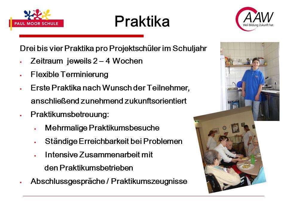 Praktika Drei bis vier Praktika pro Projektschüler im Schuljahr Zeitraum jeweils 2 – 4 Wochen Flexible Terminierung Erste Praktika nach Wunsch der Tei