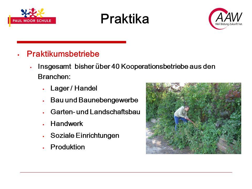 Praktika Praktikumsbetriebe Insgesamt bisher über 40 Kooperationsbetriebe aus den Branchen: Lager / Handel Bau und Baunebengewerbe Garten- und Landschaftsbau Handwerk Soziale Einrichtungen Produktion