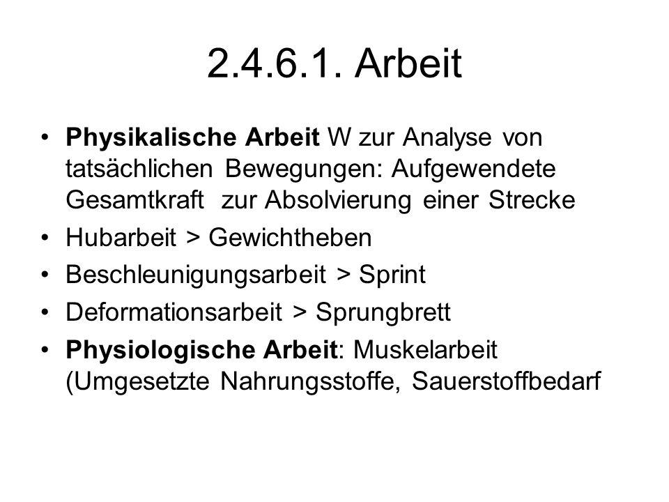 2.4.6.1. Arbeit Physikalische Arbeit W zur Analyse von tatsächlichen Bewegungen: Aufgewendete Gesamtkraft zur Absolvierung einer Strecke Hubarbeit > G
