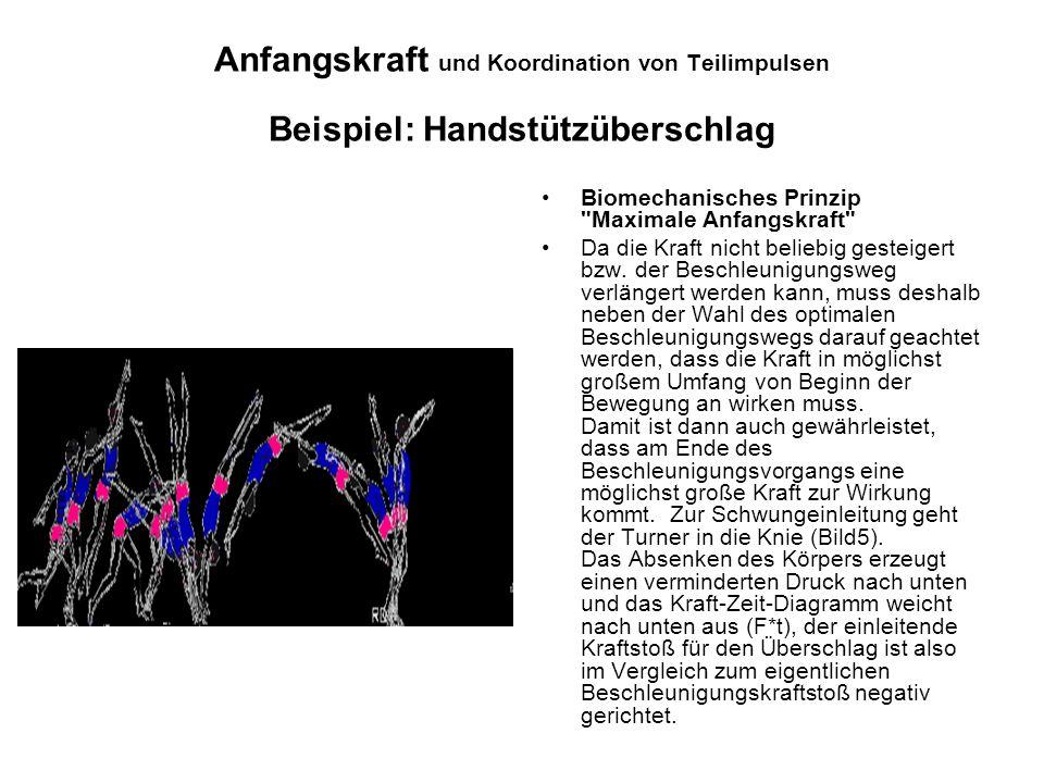 Anfangskraft und Koordination von Teilimpulsen Beispiel: Handstützüberschlag Biomechanisches Prinzip
