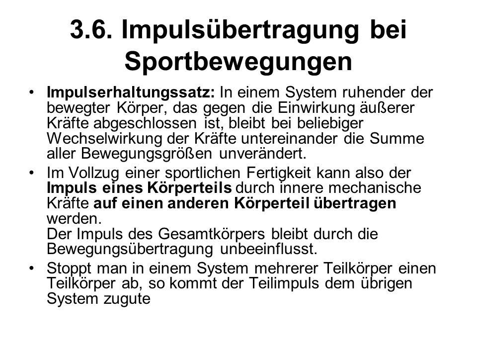 3.6. Impulsübertragung bei Sportbewegungen Impulserhaltungssatz: In einem System ruhender der bewegter Körper, das gegen die Einwirkung äußerer Kräfte