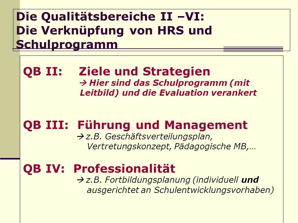 Die Qualitätsbereiche II –VI: Die Verknüpfung von HRS und Schulprogramm QB II: Ziele und Strategien Hier sind das Schulprogramm (mit Leitbild) und die Evaluation verankert QB III: Führung und Management z.B.