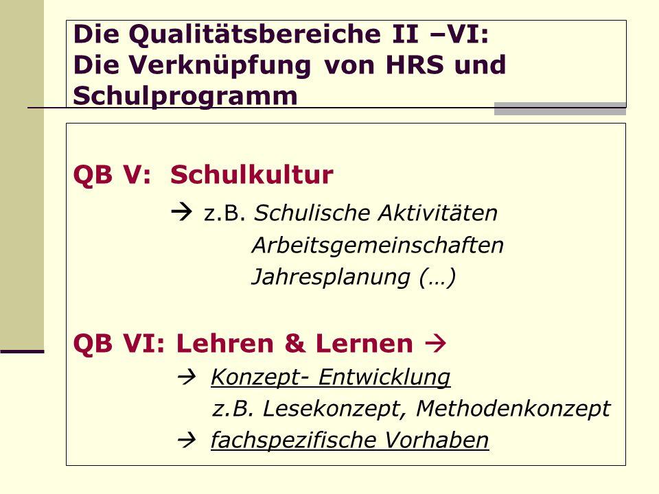 Die Qualitätsbereiche II –VI: Die Verknüpfung von HRS und Schulprogramm QB V: Schulkultur z.B.