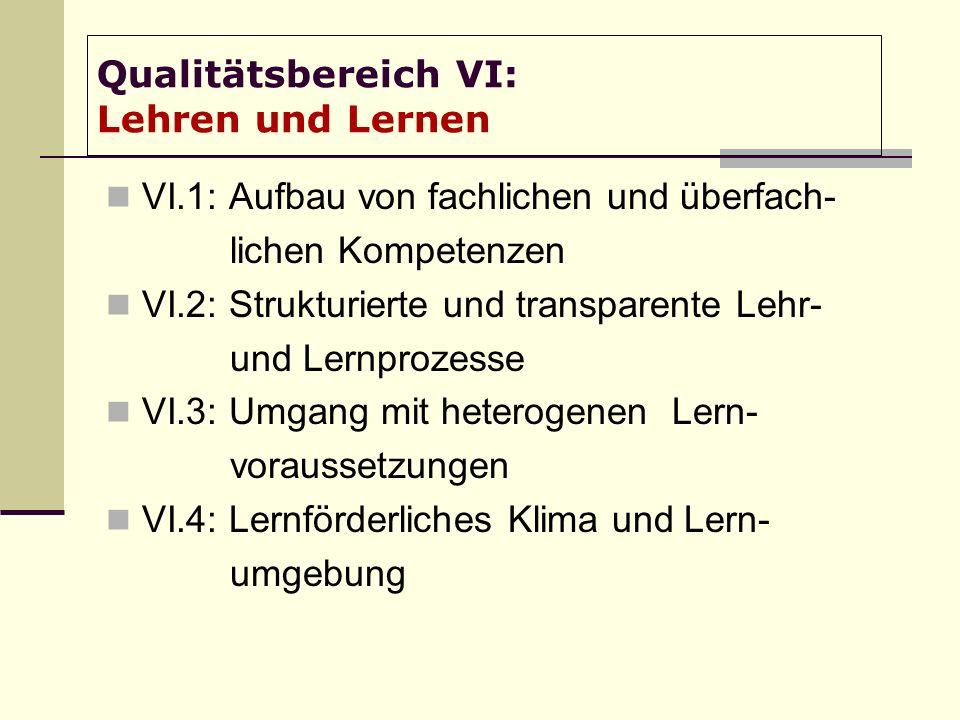 Qualitätsbereich VI: Lehren und Lernen VI.1: Aufbau von fachlichen und überfach- lichen Kompetenzen VI.2: Strukturierte und transparente Lehr- und Lernprozesse VI.3: Umgang mit heterogenen Lern- voraussetzungen VI.4: Lernförderliches Klima und Lern- umgebung