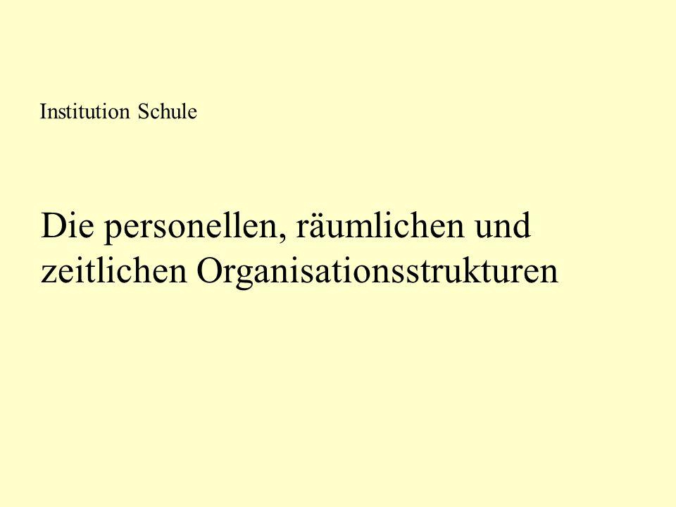 Die personellen, räumlichen und zeitlichen Organisationsstrukturen Institution Schule
