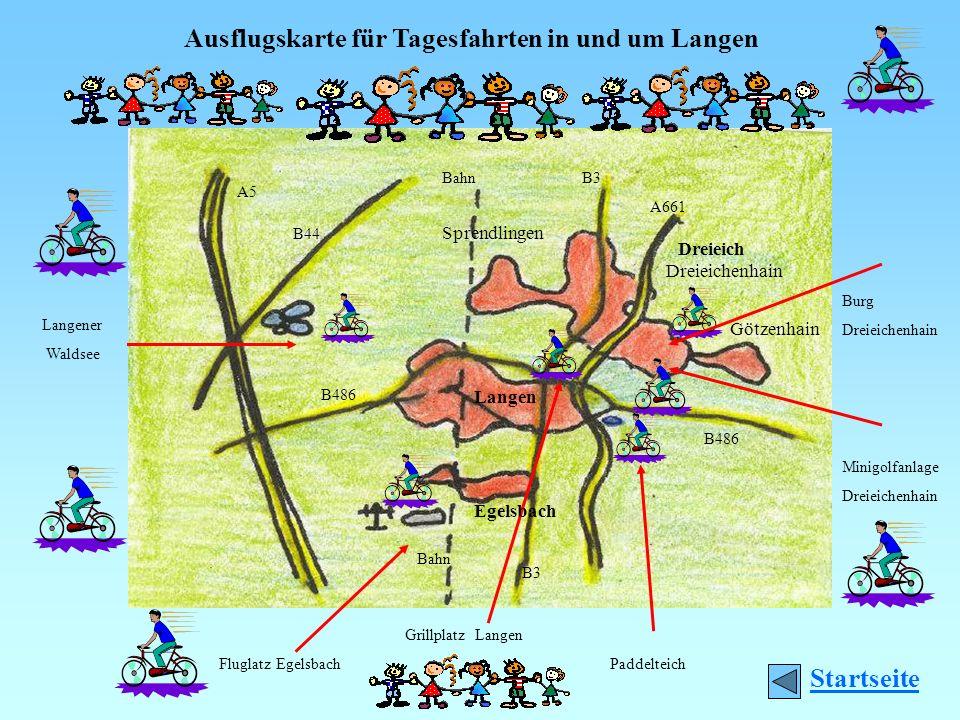 Ausflugskarte für Tagesfahrten in und um Langen Fluglatz EgelsbachPaddelteich Langener Waldsee Grillplatz Langen Minigolfanlage Dreieichenhain Burg Dr