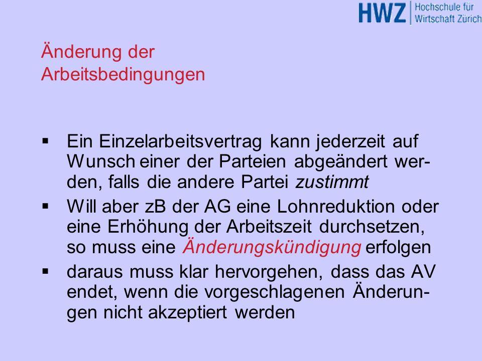 Kündigungsschutz Missbräuchliche Kündigung (Art.336 OR) Kündigung zur Unzeit (Art.