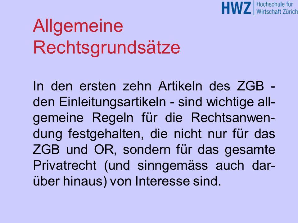 ZGB-Inhaltsübersicht Einleitungsartikel Personenrecht Familienrecht Erbrecht Sachenrecht Schlusstitel