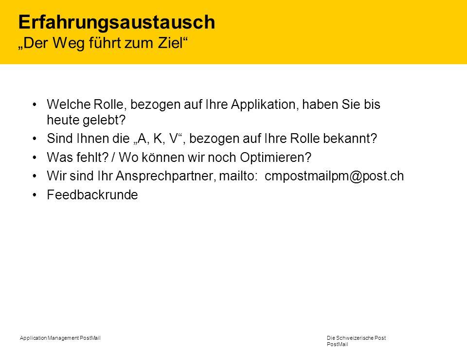 Application Management PostMail Die Schweizerische Post PostMail Erfahrungsaustausch Der Weg führt zum Ziel Welche Rolle, bezogen auf Ihre Applikation