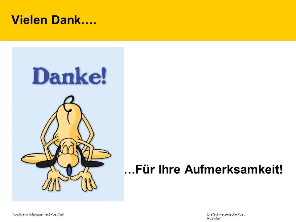 Application Management PostMail Die Schweizerische Post PostMail Vielen Dank…. ….Für Ihre Aufmerksamkeit!