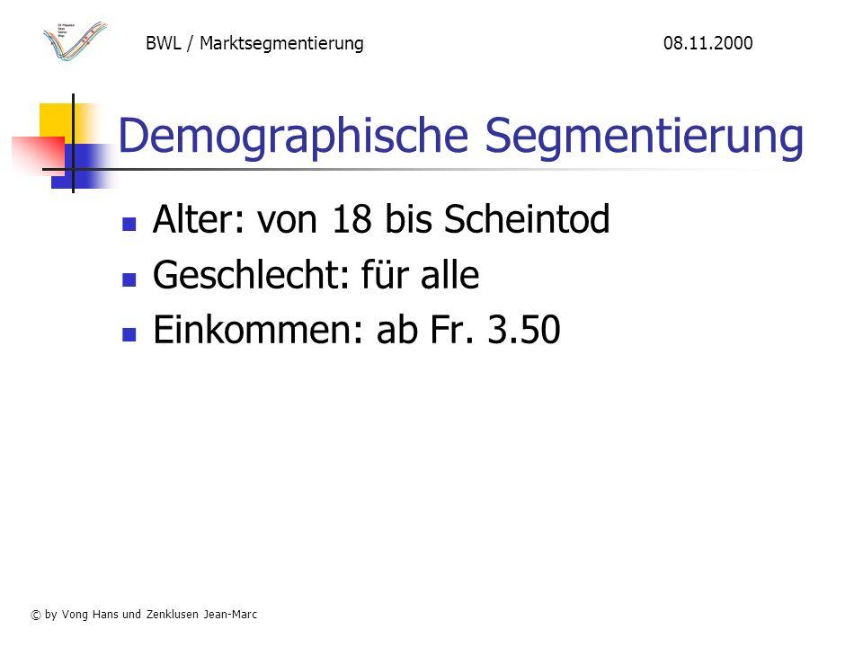 Demographische Segmentierung Alter: von 18 bis Scheintod Geschlecht: für alle Einkommen: ab Fr.