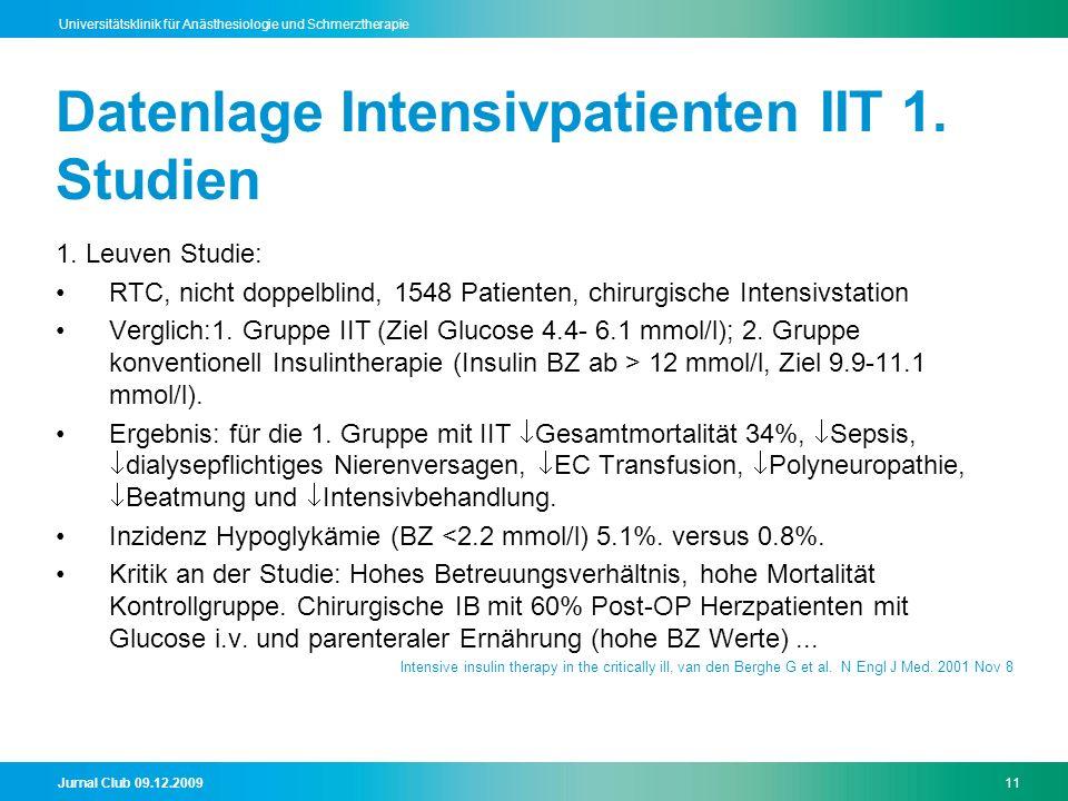 Jurnal Club 09.12.200911 Universitätsklinik für Anästhesiologie und Schmerztherapie Datenlage Intensivpatienten IIT 1. Studien 1. Leuven Studie: RTC,