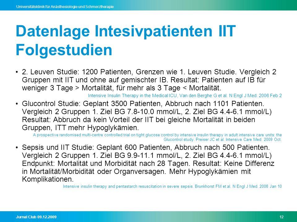 Jurnal Club 09.12.200912 Universitätsklinik für Anästhesiologie und Schmerztherapie Datenlage Intesivpatienten IIT Folgestudien 2. Leuven Studie: 1200