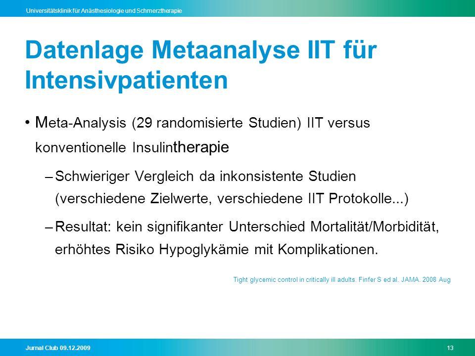Jurnal Club 09.12.200913 Universitätsklinik für Anästhesiologie und Schmerztherapie Datenlage Metaanalyse IIT für Intensivpatienten M eta-Analysis (29