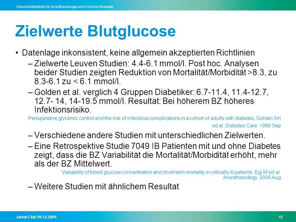 Jurnal Club 09.12.200918 Universitätsklinik für Anästhesiologie und Schmerztherapie Zielwerte Blutglucose Datenlage inkonsistent, keine allgemein akzeptierten Richtlinien –Zielwerte Leuven Studien: 4.4-6.1 mmol/l.