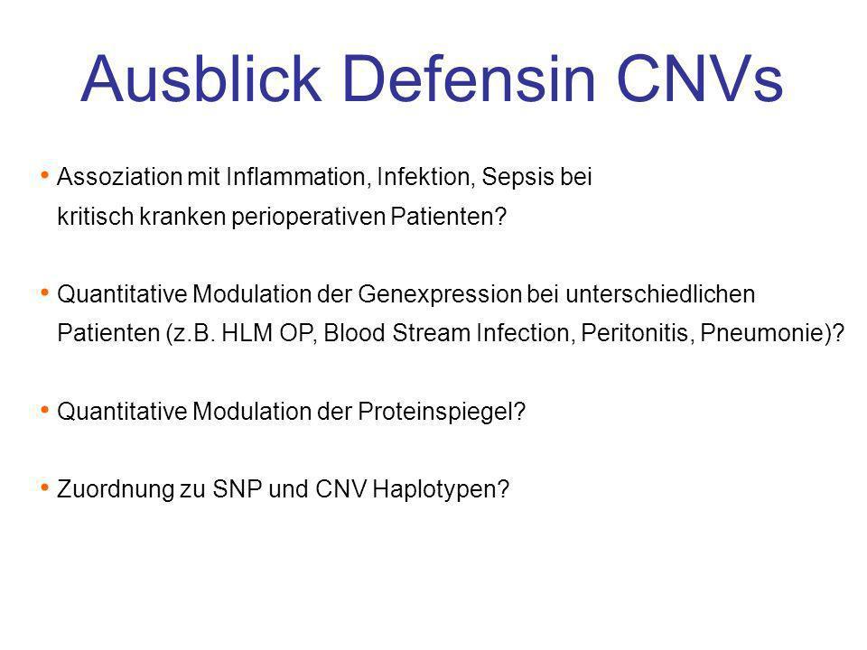 Ausblick Defensin CNVs Assoziation mit Inflammation, Infektion, Sepsis bei kritisch kranken perioperativen Patienten? Quantitative Modulation der Gene