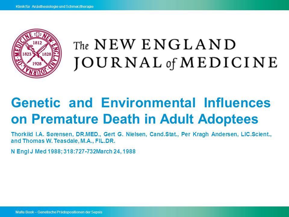 Malte Book – Genetische Prädispositionen der Sepsis Klinik für Anästhesiologie und Schmerztherapie Single Nucleotide Polymorphismen