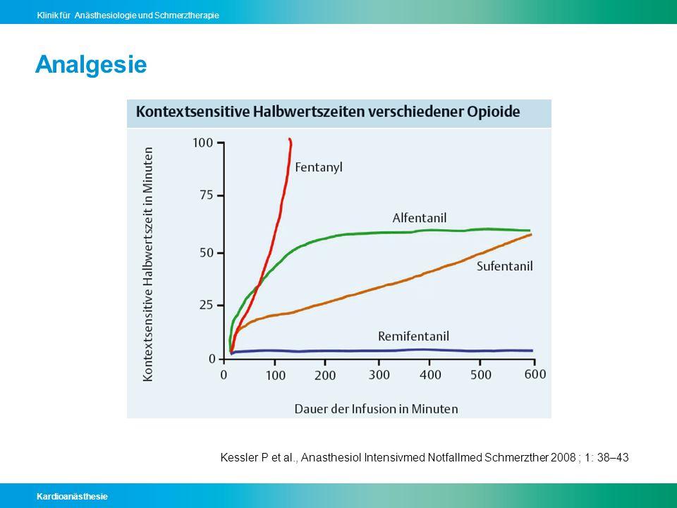 Kardioanästhesie Klinik für Anästhesiologie und Schmerztherapie Analgesie Kessler P et al., Anasthesiol Intensivmed Notfallmed Schmerzther 2008 ; 1: 3